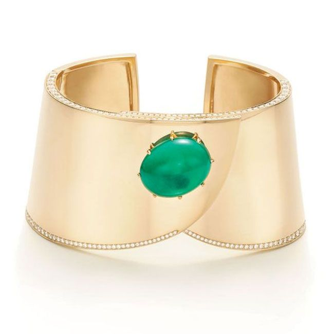 Fred Leighton Emerald And Gold Cuff