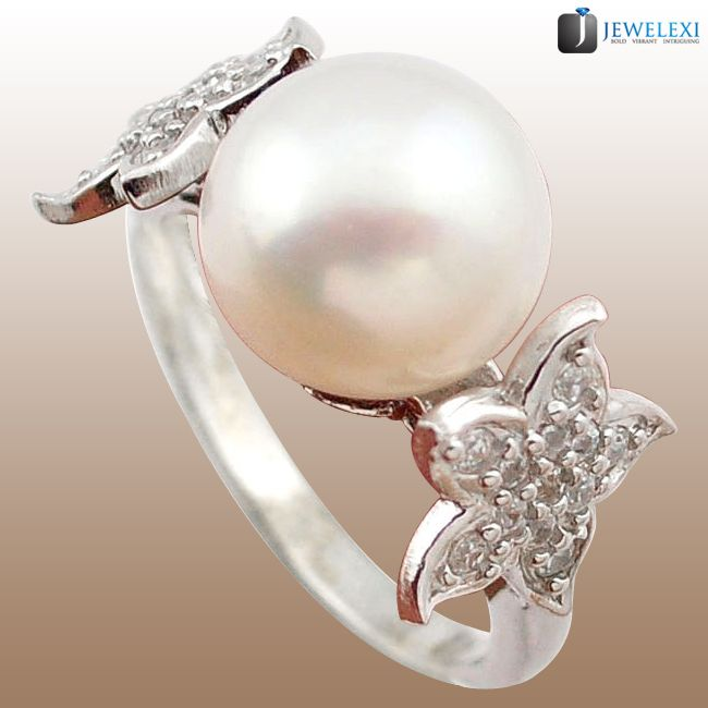 fresh water white pearl silver ring