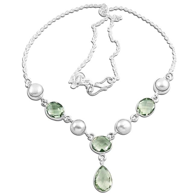 green amethyst white pearls necklace