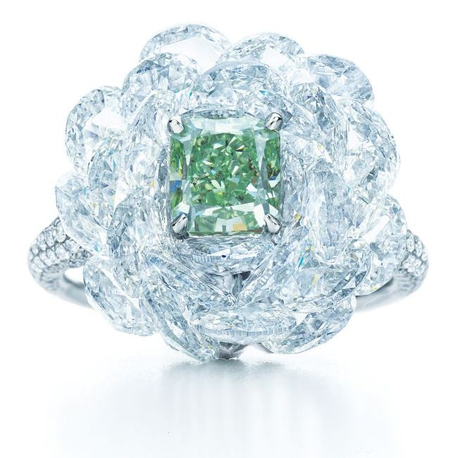 Green Rose Cut Diamond Ring