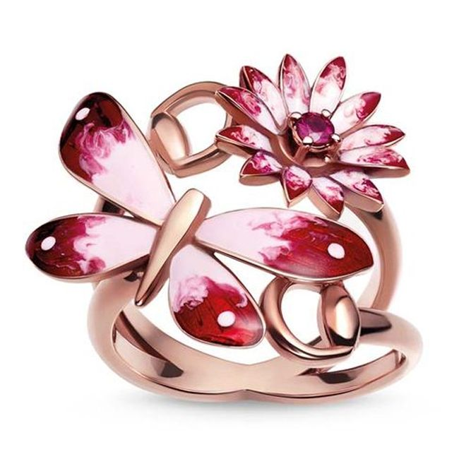 Gucci Red Pink Buttefly Ring