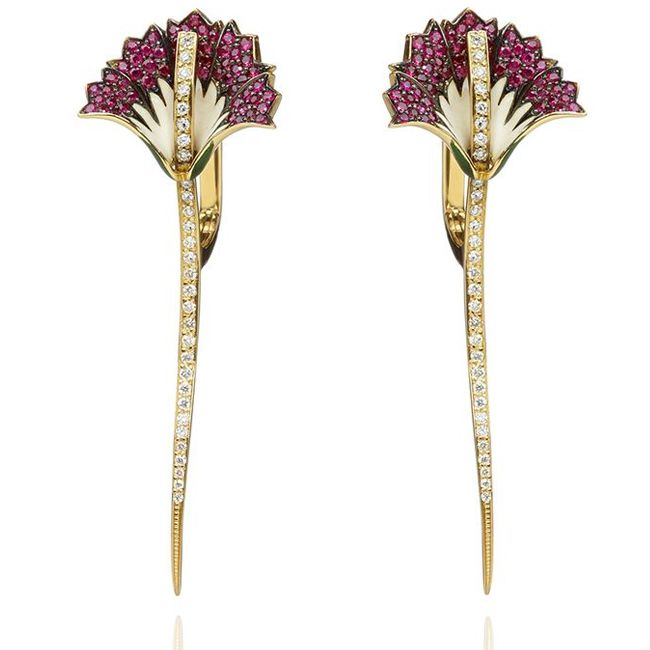 ilgiz f for annoushka carnation earrings in yellow gold with rubies set