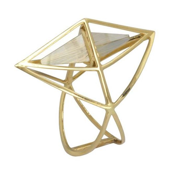 Kattri Tetrahedron Yellow Gold Rutilated Quartz Ring