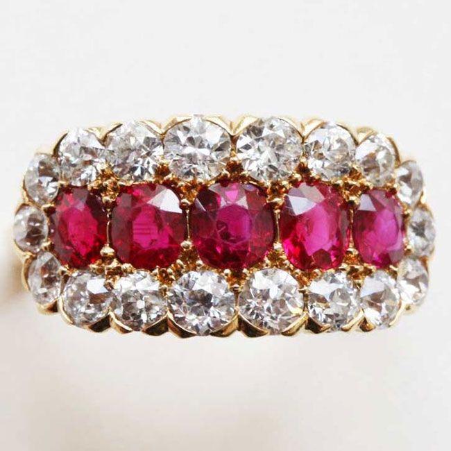 kunsthandel inez stodel five stone victorian ruby ring