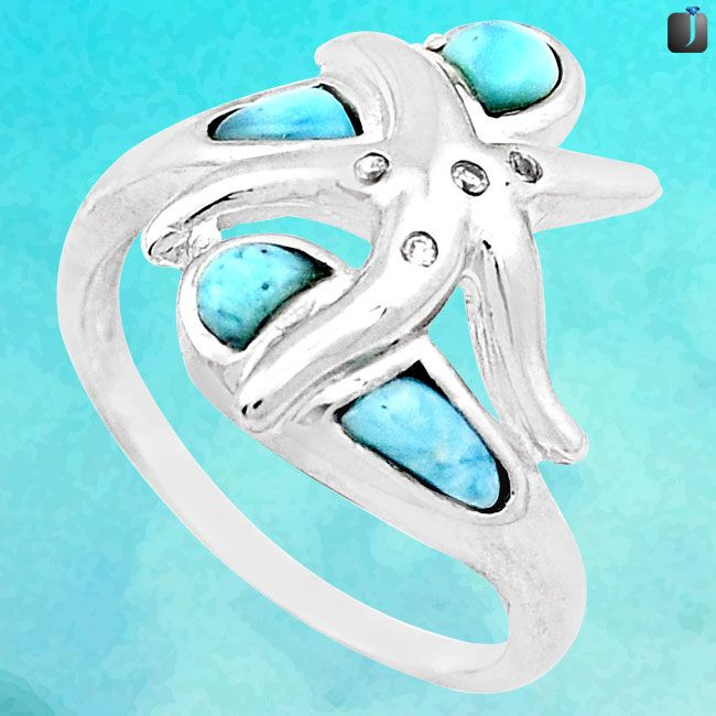 larimar star fish ring