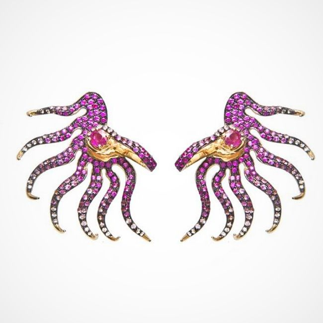 Leyla Abdollahi's Rose Draped Spring Earrings with Pink Sapphires Rubies and Gold
