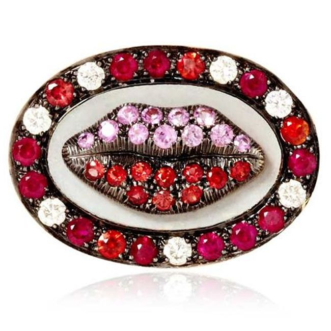 lip ring with pink sapphires