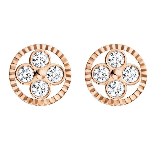 Louis Vuitton Rose Gold and Diamond Sun Earrings from The Monogram Collection