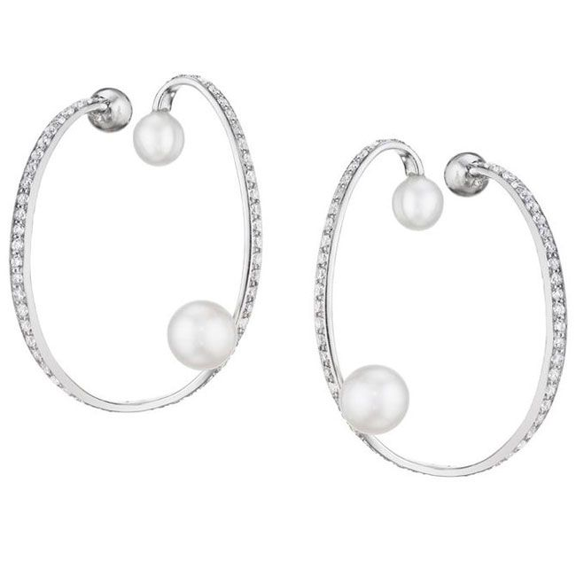Lynn Ban Pearl And Diamond Ellipse Ear Cuff