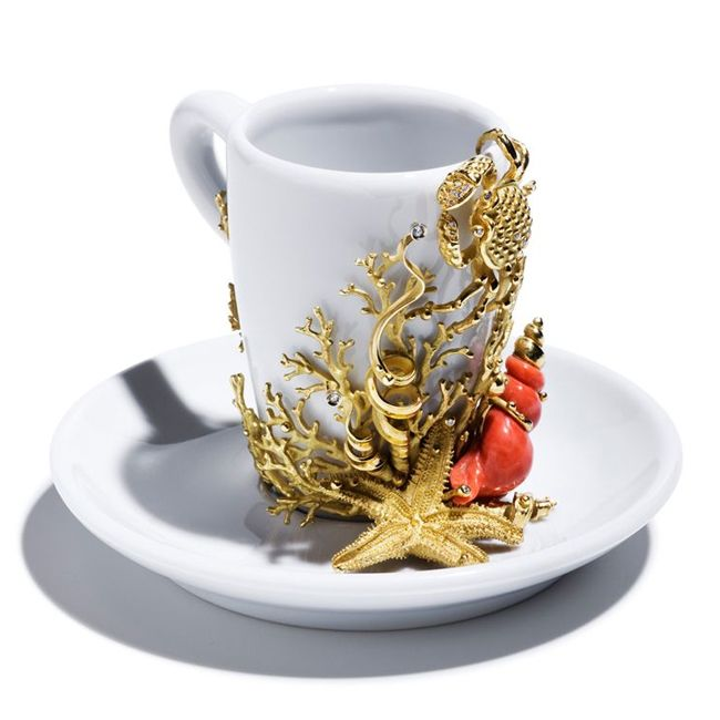 Massimo Izzo Coffee Cup in Gold and Coral