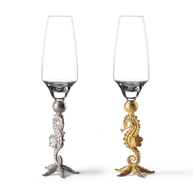 Massimo Izzo Gold Seahorse Champagne Glasses