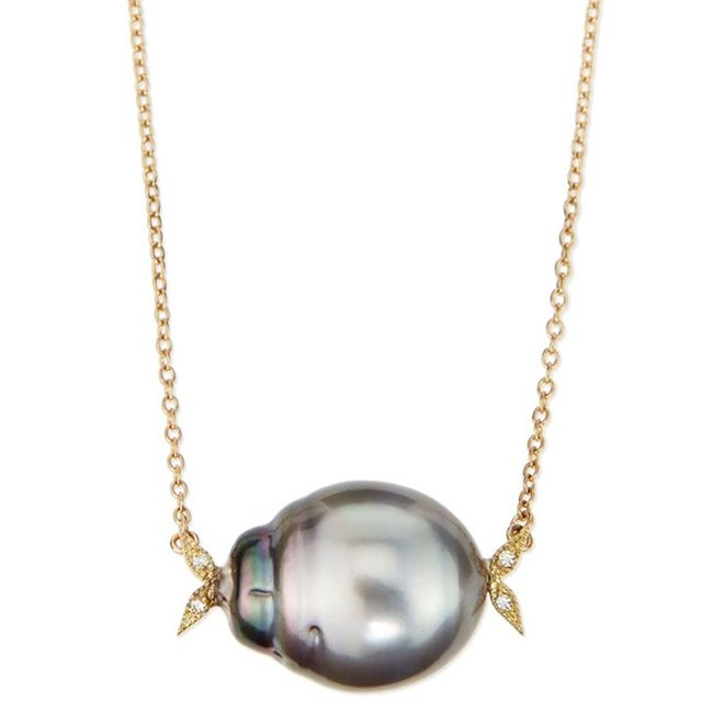 Mizuki Pearl Necklace with Black Tahitian Pearl and Diamond