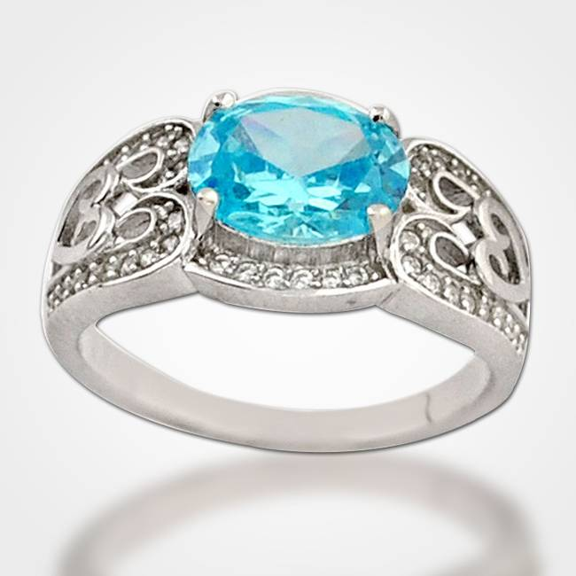 ocean blue silver cocktail ring