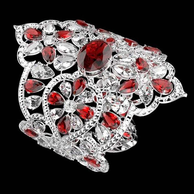 Orlov Oval Cut Ruby and Diamond Bracelet