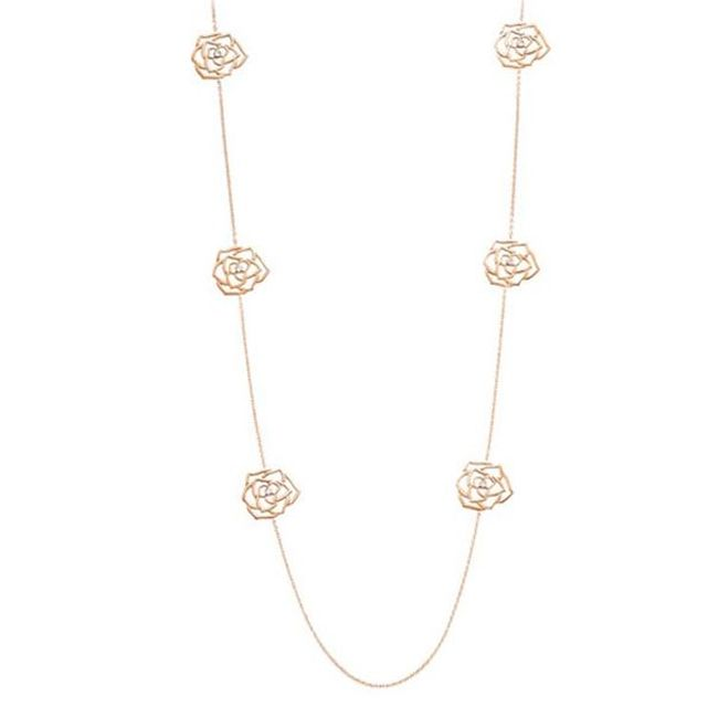 Piaget Rose Necklace with Silhouettes of Six Piaget Roses in Rose Gold