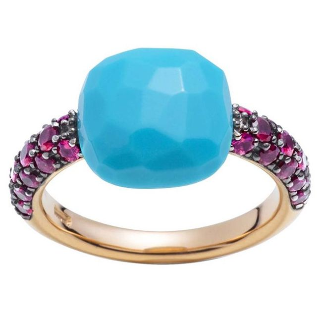 Pomellato Ruby and Turquoise Capri Ring