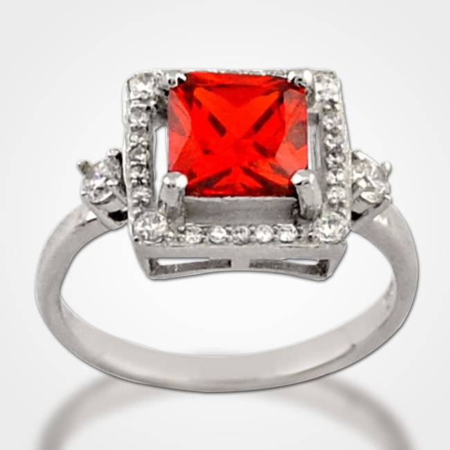red cube silver cocktail ring