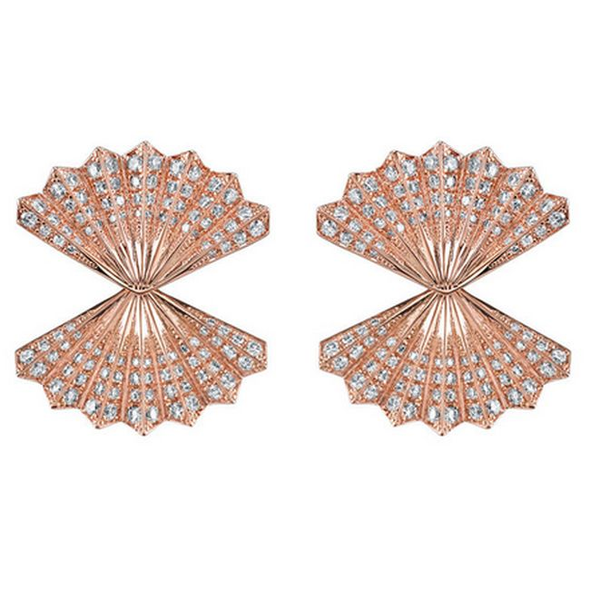 Rose Gold Double Fan Diamond Earrings by Anita