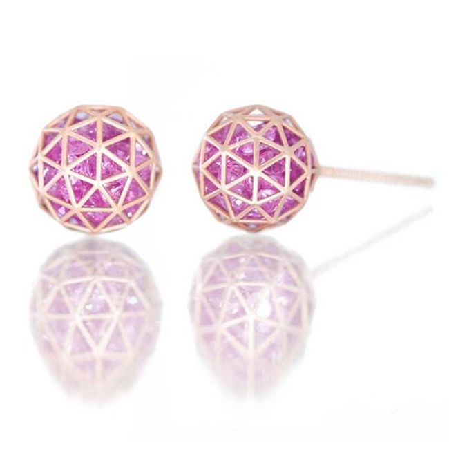 Stud Earrings with Loose Pink Sapphires by Roule