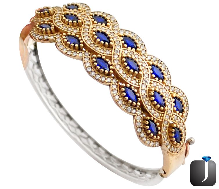 turkish blue sapphire two tone bangle
