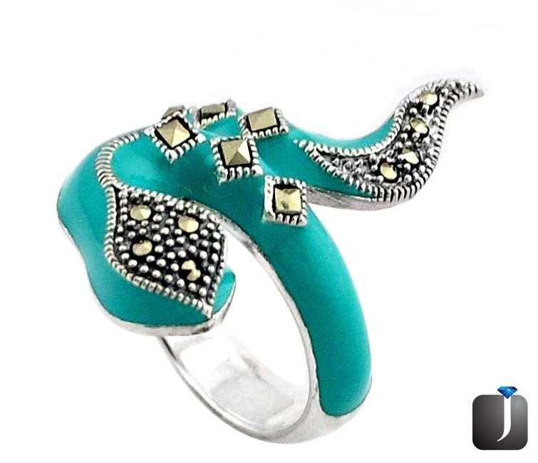 turquoise adjustable snake ring