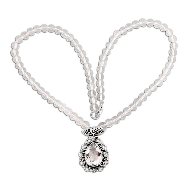 white topaz beads necklace