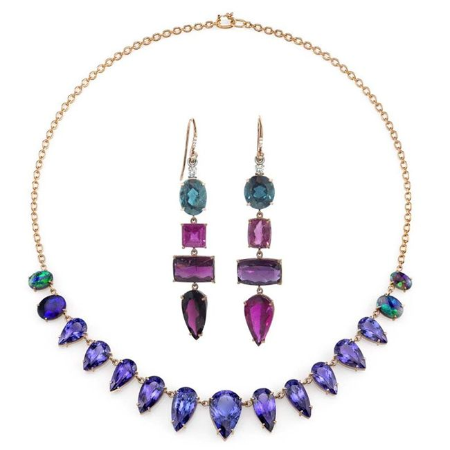 y lang tanzanite pink tourmaline necklace and earrings