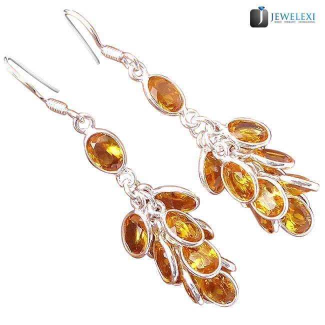 yellow citrine quartz chandelier earrings