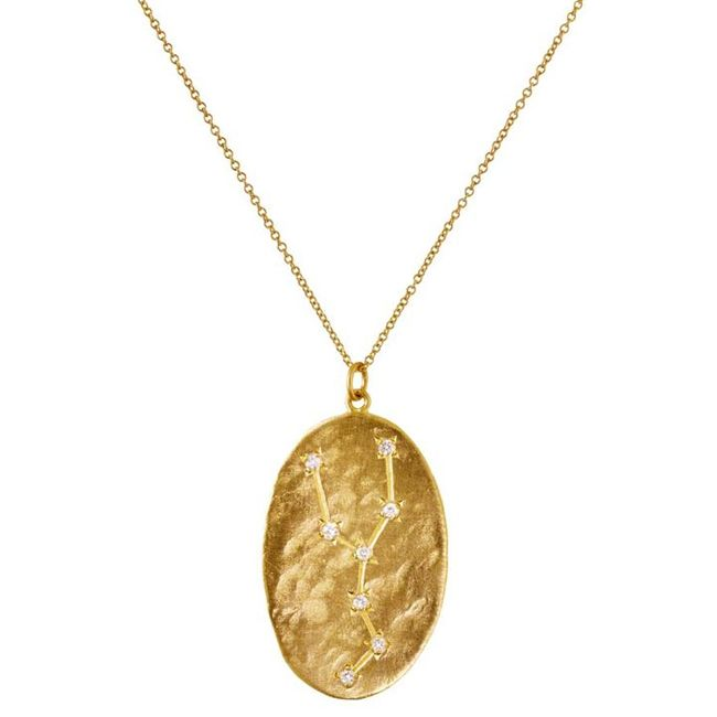 yellow-gold-and-diamond taurus pendant necklace from brooke gregson's astrology collection