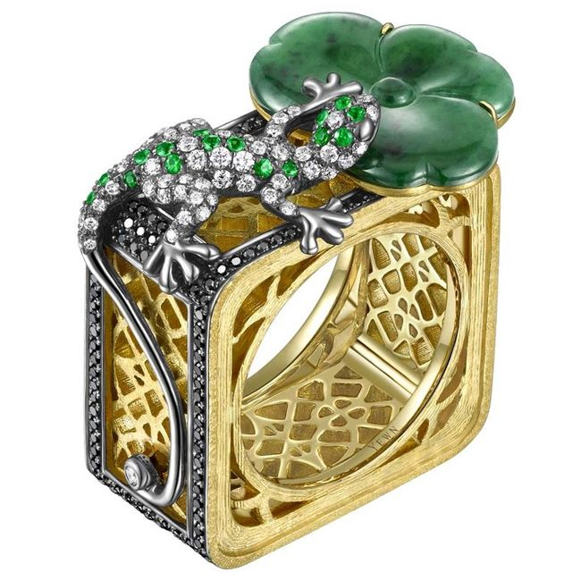 yewns jadeite lotus leaf and salamander ring from lattice collection