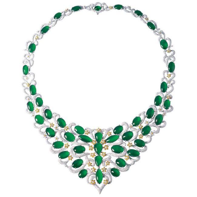 Zhaoyi Green Jade Bib Necklace