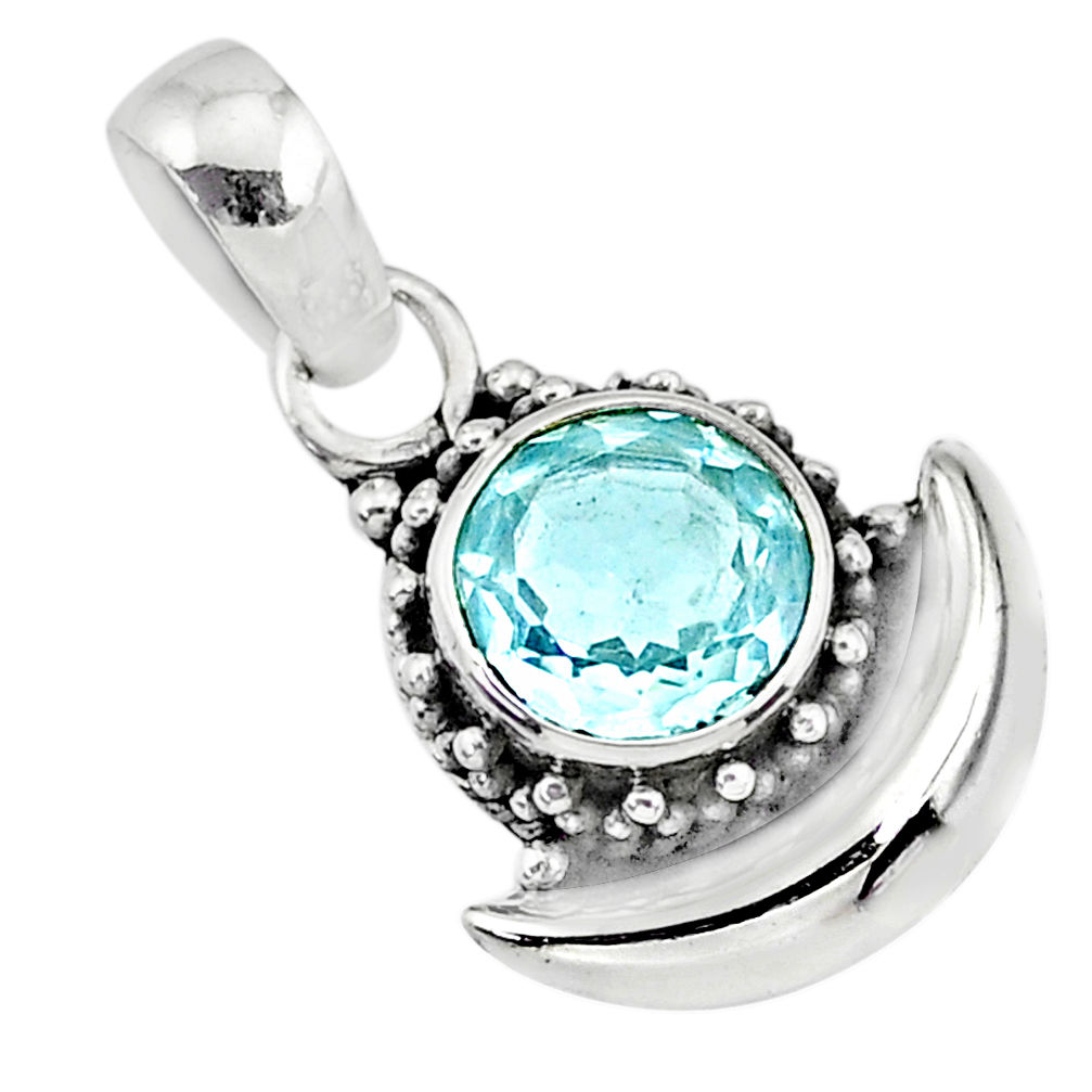 natural blue topaz 925 sterling silver moon pendant jewelry