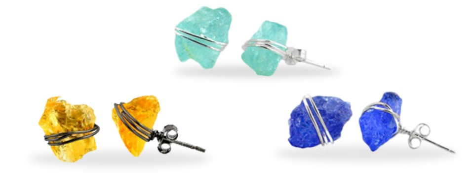 Raw Gems Wire Wrapped Stud Collection
