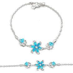 5.73cts blue topaz quartz topaz 925 sterling silver bracelet jewelry a30057