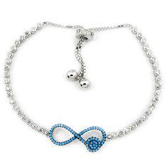 Adjustable blue turquoise topaz 925 sterling silver bracelet a34874