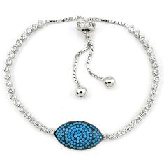 925 sterling silver adjustable blue turquoise topaz bracelet jewelry a34880