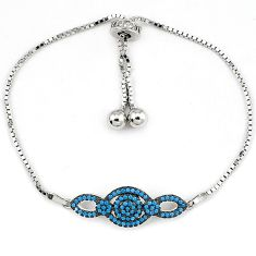 925 sterling silver natural turquoise white topaz bracelet adjustable a34885