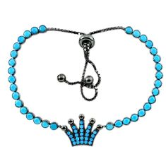Adjustable crown sleeping beauty turquoise 925 silver tennis bracelet a37946