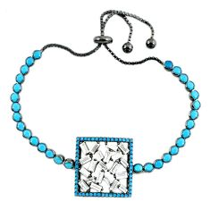 Black rhodium bracelet turquoise gemstone white topaz free size a37980