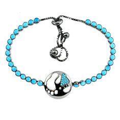 Adjustable blue sleeping beauty turquoise 925 silver tennis bracelet a37988