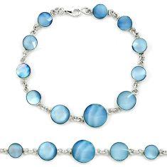 Blue blister pearl enamel 925 sterling silver tennis bracelet jewelry a39542