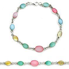 Multi color blister pearl enamel 925 sterling silver tennis bracelet a39544