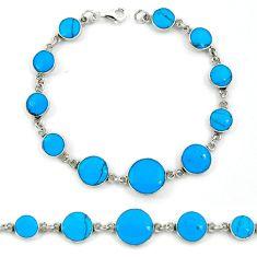 Fine blue turquoise enamel 925 sterling silver tennis bracelet jewelry a39547