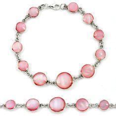 Pink blister pearl enamel 925 sterling silver tennis bracelet jewelry a39548