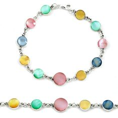 Multi color blister pearl enamel 925 sterling silver tennis bracelet a39552