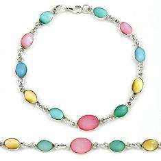 Multi color blister pearl enamel 925 sterling silver tennis bracelet a39562