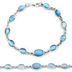 Blue blister pearl enamel 925 sterling silver tennis bracelet jewelry a39564