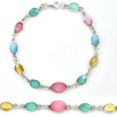 Multi color blister pearl enamel 925 sterling silver tennis bracelet a39566