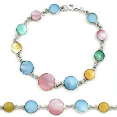 Multi color blister pearl enamel 925 sterling silver tennis bracelet a39572