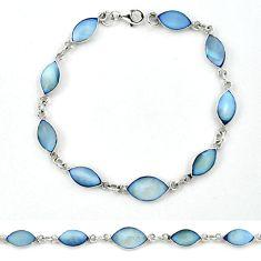 Blue blister pearl enamel 925 sterling silver tennis bracelet jewelry a39573